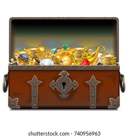 Vector Old Pirate Forged Chest with Gold
