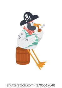 Vector old pirate with smoking pipe in cocked hat. Funny seagull character for marine theme. Bird in neckerchief and bandana. Isolated.