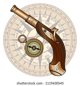 Vector Old Pistol and Compass