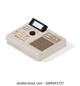 Vector old school 90s drum machine in isometric 3D style. Retro digital musical instrument for hip-hop producers and beatmakers