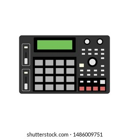 Vector old school drum machine, 90's Drum Sampler, Sample Machine, Retro digital musical instrument for hip-hop rappers producers and beatmakers