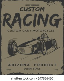 vector old school race car poster.
