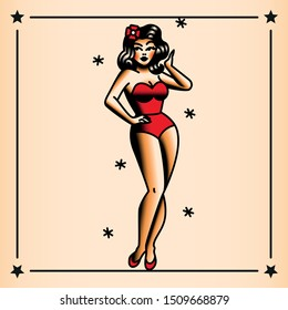 Vector Old School Style Pin-Up Tattoo Design
