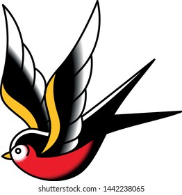 Vector Old School Style Tattoo Swallow Design