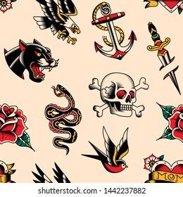 Vector Old School Tattoo Designs Seamless Pattern