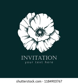 Vector old stile illustration of poppy flower. Template of invitation.