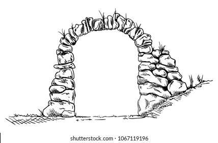 Vector - Old stone entrance wall, isolated on background