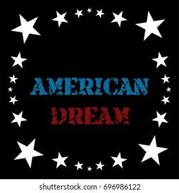Vector old style denim frame design. White stars on black trendy t-shirt cowboy pattern. American national gray scale symbols, American dream lettering. Retro vintage background, border, decoration.