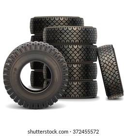 Vector Old Truck Tire Set
