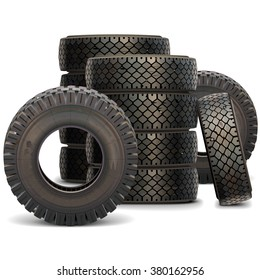 Vector Old Truck Tire Set 2