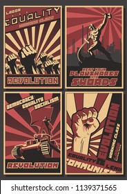 Vector Old USSR Revolution Propaganda Posters Stylization