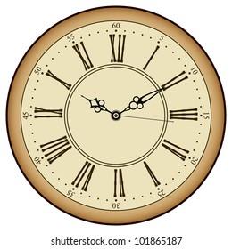 Vector old vintage clock face