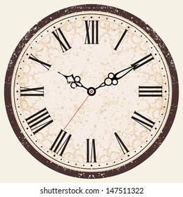 Vector Old Vintage Clock / Vintage Retro Clock Face