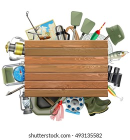 Vector Old Wooden Board with Fishing Tackle