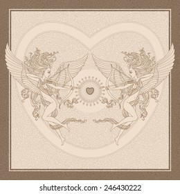 Vector old-fashioned  greeting card  with funny cartoon Cupids,  arrows and Valentine heart on beige shabby background and brown frame
