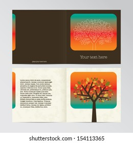Vector old-style retro vintage autumn colors gift card for print - tree and leaf illustration - front and back side