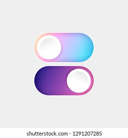 Vector On Off Switch. Day and Night Mode Switcher for Phone Screens. Toggle Element for Mobile App, Web Design, Animation. Light and Dark Buttons.