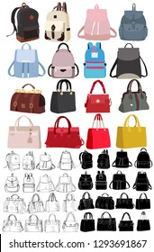 vector, on white background, bag and backpack fashionable women, set