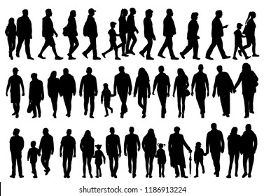 vector, on white background, black silhouette set of walking people
