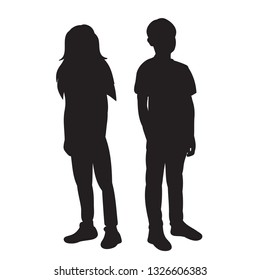 vector, on a white background, black silhouette boy and girl