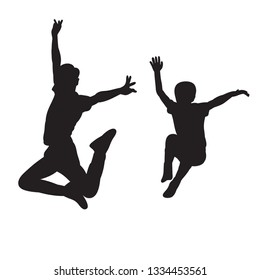 vector on white background black silhouette boy jumping