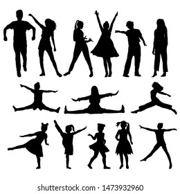 vector, on a white background, black silhouette of dancing people, set