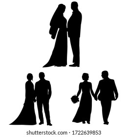 vector, on a white background, black silhouette of a bride and groom, set