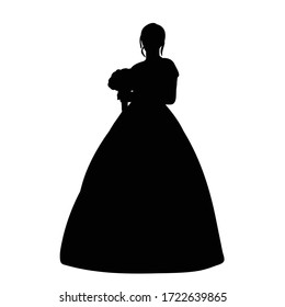 vector, on a white background, black silhouette of a bride
