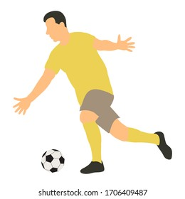 vector, on a white background, in a flat style a football player runs