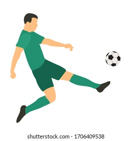 vector, on a white background, in a flat style soccer player with a ball