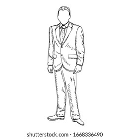 vector, on a white background, freehand sketch man in a jacket, businessman