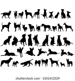 vector, on a white background, icon, black silhouette of a dog, collection