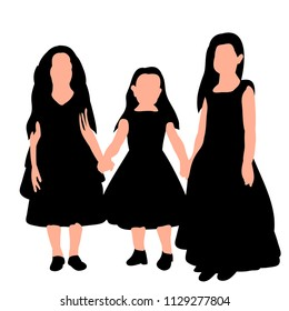 vector, on white background, silhouette of girls in dress