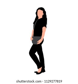 vector, on white background, silhouette of girl with bag, posing