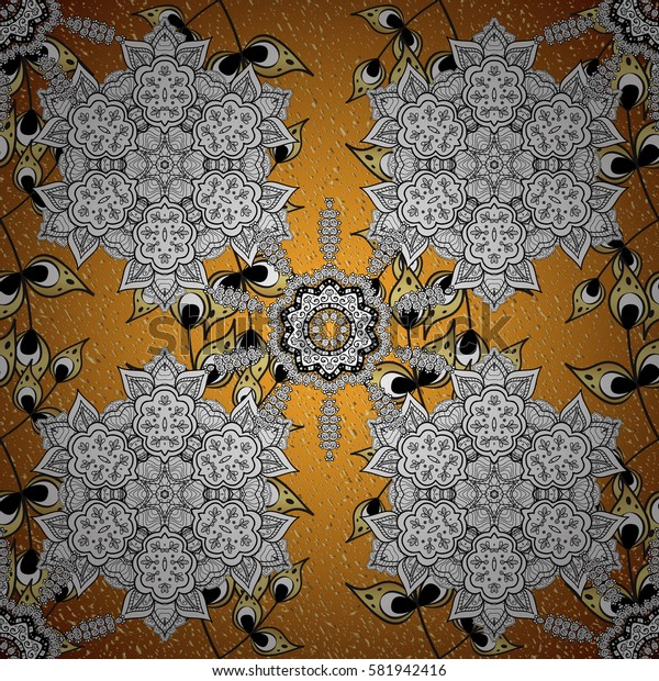 Vector on yellow background with golden elements. Damask for design.