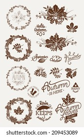 Vector one color autumn (fall) design elements and silhouettes featuring decorative floral round frames, dingbats, spacers, signs, badges, titles, month names, lettering and calligraphy pieces