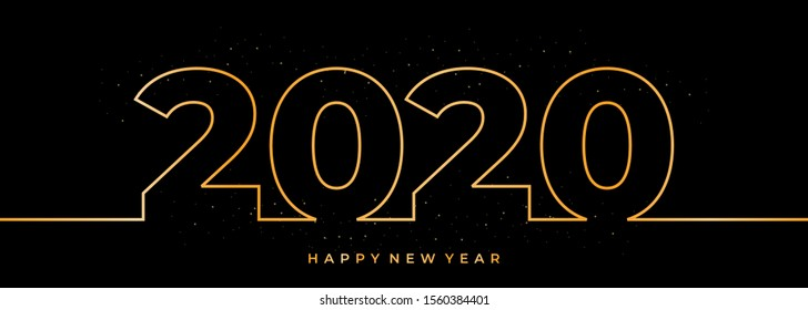 Vector One continuous line drawing 2020. Design of new year illustration isolated on dark background. Thin gold lines hand drawn.