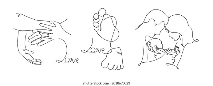 Vector one line art set of illustrations of a new born baby heels and mother, father and holding a new born baby. Lineart  family portret