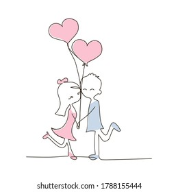 Vector one line drawing of a couple in love in color on a white isolated background. Guy and girl with a bouquet of balloons, hearts in outline style. Love, youth, print.