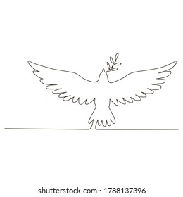 Vector one line drawing of a dove on a white isolated background, flat style. Symbol, love, bird, packaging, gifts, holiday, postcard, decoration.