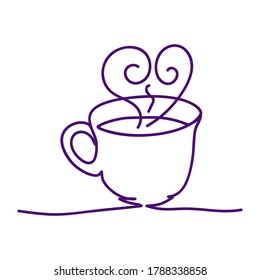 Vector one line drawing of handmade mug on white isolated background, flat style. Symbol, lunch, tea, coffee, gifts, celebration, decoration.