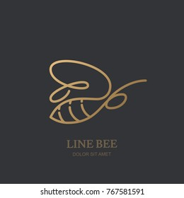 Vector one line logo icon or emblem with golden honeybee. Abstract modern design template. Outline bee illustration. Concept for honey package design, luxury jewelry