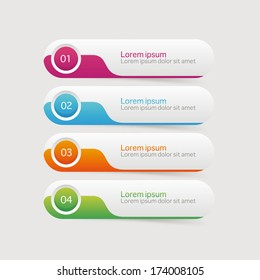 Vector One Two Three Four steps, progress banners with colorful tags.