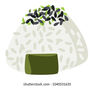 Vector onigiri with rice, spice and seaweed nori on a transparent background