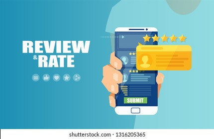 Vector of an online application on mobile phone to rate and review customer service, product or experience