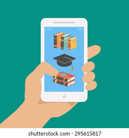 Vector online education concept in flat style. hand holding mobile phone with educational app on the screen.   Distant e-learning