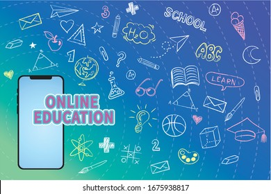 Vector online education concept, Mobile phone with educational app in the screen, EPS10.