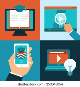 Vector online education concepts in flat style - mobile phone and computers with educational app in the screen - distant e-learning