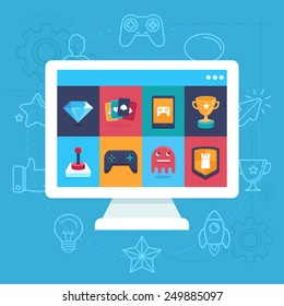 Vector online and mobile game icons and signs - concepts for apps - trendy illustrations in flat style