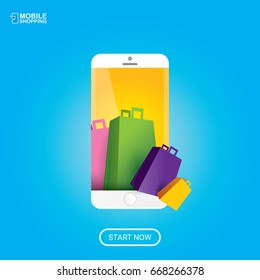Vector online mobile shopping concept background. vector mobile marketing and commerce background icon .